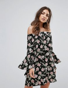 Read more about Influence floral bardot dress with flare sleeve - black floral