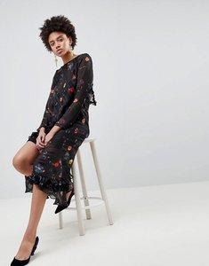 Read more about Asos design floral printed jacquard midi dress - multi