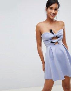 Read more about Asos design scuba knot front mini skater dress - blue