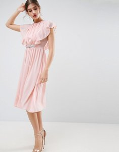 Read more about Asos embellished waist flutter sleeve midi dress - nude
