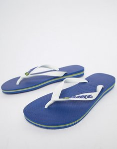 Read more about Havaianas brasil logo flip flops in blue - blue
