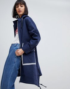 Read more about Asos design metallic sport trim parka - navy
