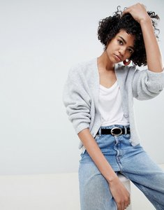 Read more about Asos design eco cropped cardigan in fluffy yarn with buttons - grey marl