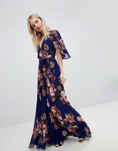 Read more about Asos pleated maxi dress with flutter sleeve in floral print - floral print