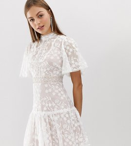 Read more about Forever new lace mini spliced dress with fluted sleeve in pink and white