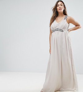 Read more about Mamalicious premium embellished maxi dress - mink