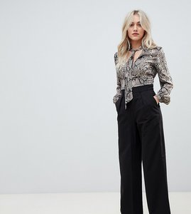 Read more about Asos petite the wide leg trouser with pleat detail - black
