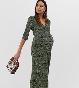 21bf4a1756a15 Read more about Asos design maternity midi plisse tea dress in blurred spot  print