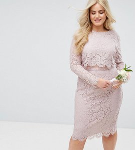Read more about Asos curve wedding lace long sleeve midi pencil dress - mink