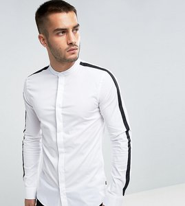 Read more about Only sons skinny smart shirt with cut and sew arm detail - white