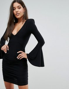 Read more about Club l long fluted sleeve ruched mini bodycon dress - black