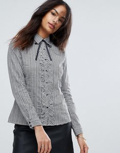 Read more about Qed london gingham frill tie shirt - black