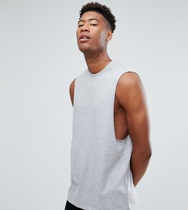 Read more about Asos tall relaxed vest with dropped armhole in grey - grey marl