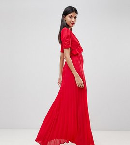 Read more about Asos tall pleated maxi tea dress - red