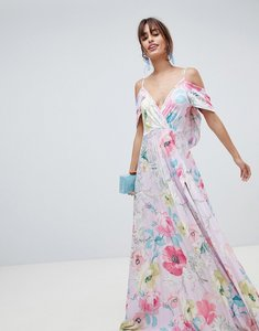 Read more about Asos design floral cold shoulder cowl back pleated maxi dress - multi