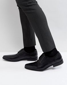 Read more about Asos lace up shoe in black faux leather with embossed detail - black