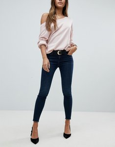 Read more about Asos lisbon skinny mid rise jeans in marisol dark wash blue in ankle grazer length - dark wash blue