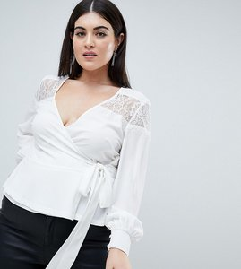 Read more about Outrageous fortune plus ruffle detail lace insert wrap blouse - cream