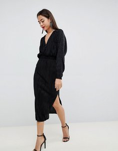 Read more about Asos design batwing midi plisse dress - black