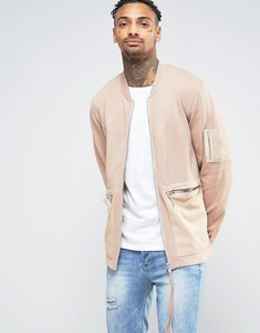 Read more about Asos jersey bomber jacket with woven pockets and long zip pull - beige