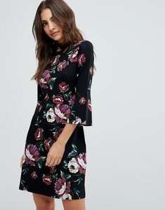 Read more about Warehouse floral print ponte skater dress - black