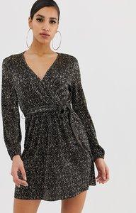 Read more about Asos design mini wrap dress in gold spot plisse