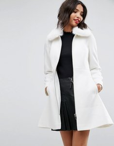 Read more about Asos skater coat with faux fur collar - cream