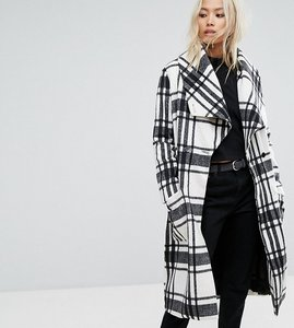 Read more about Religion wrap front coat in soft brushed check - winter white check