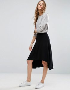 Read more about Asos midi skater skirt with high low hem - black