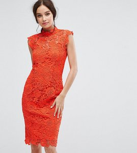Read more about Paper dolls high neck crochet lace pencil dress - warm orange