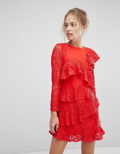 Read more about Aijek long sleeve mini lace shift dress with ruffle detail - rouge