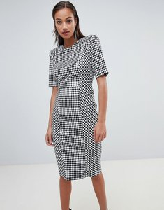 Read more about Asos design shoulder pad check mono midi dress - multi