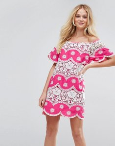 Read more about Asos off shoulder sundress with lace inserts - pink