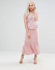 Read more about Foxiedox primrose lace midi dress with peplum - pink