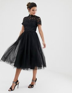 Read more about Chi chi london high neck lace midi dress with tulle skirt - black