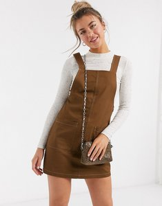 Read more about Pieces pinafore mini dress with contrast stitching