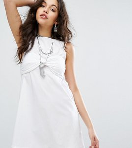 Read more about Missguided broderie bralet overlay shift dress - white