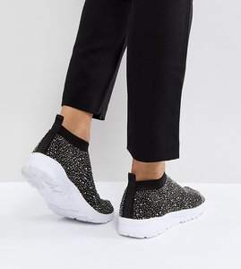 Read more about Asos dusk embellished sock trainers - black