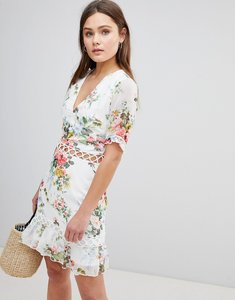 Read more about Parisian floral dress with lattice inserts - white