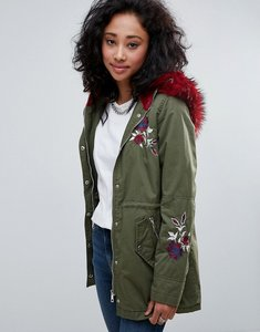 Read more about Urban bliss embroidered parka coat with contrast faux fur - khaki