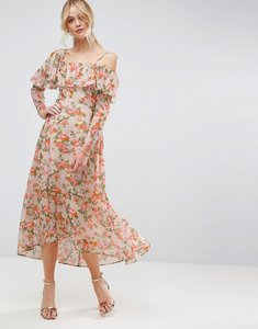 Read more about Asos maxi dress with ruffle in floral print - multi