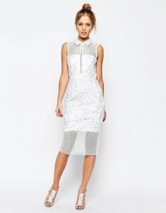 Read more about Asos salon mesh collar midi dress - white