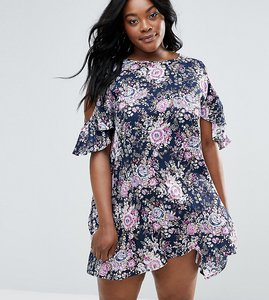 Read more about Nvme plus cold shoulder dress with ruffle detail - multi