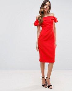 Read more about Asos midi bardot dress in natural fibre - orange