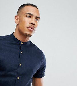 Read more about Asos design tall slim fit linen mix shirt with grandad collar in navy - navy