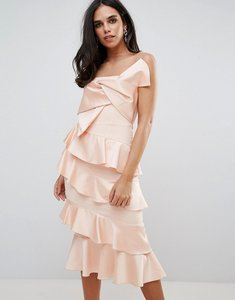 Read more about Forever unique frill and bow detail midi dress - pink