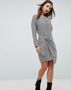 Read more about Asos checked 80 s mini dress with circle belt - multi