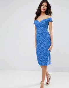 Read more about Asos lace sweetheart bardot midi bodycon dress - turquoise