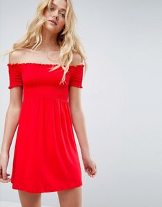Read more about Asos off shoulder sundress with shirring - red