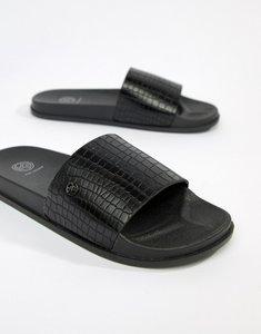 Read more about Kg by kurt geiger slider flip flops in snake - black